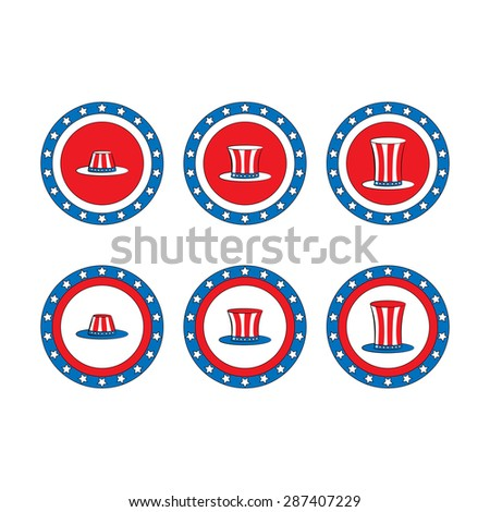 set icon Patriotic hat. 4th of July - stock vector
