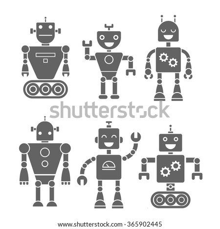 Set icon retro robots - stock vector