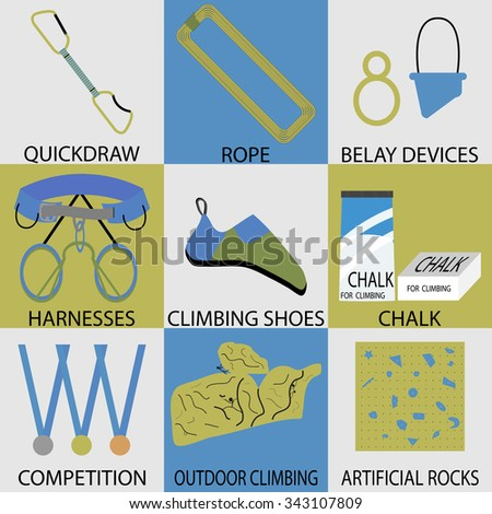 Set icon sport climbing. Rope and belay device, harnesses and quickdraw, chalk climbing, shoes and competition, outdoor and artificial climb button. Vector design abstract unusual fashion illustration