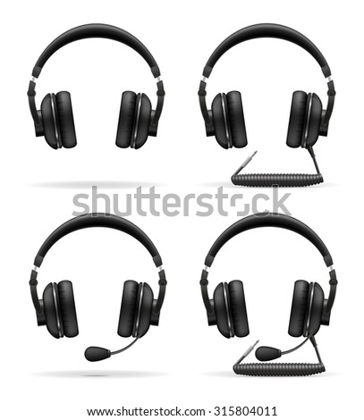 set icons acoustic headphones vector illustration isolated on white background
