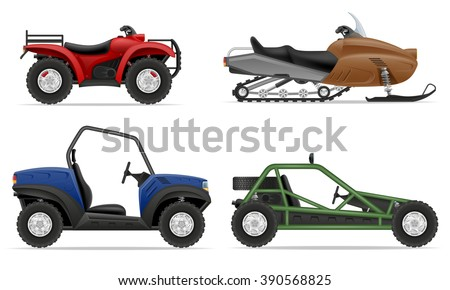 set icons atv automobile off roads vector illustration isolated on white background - stock vector