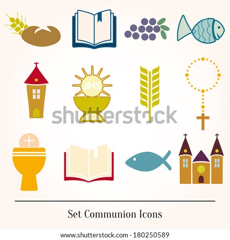 Set icons communion catholic christian - stock vector