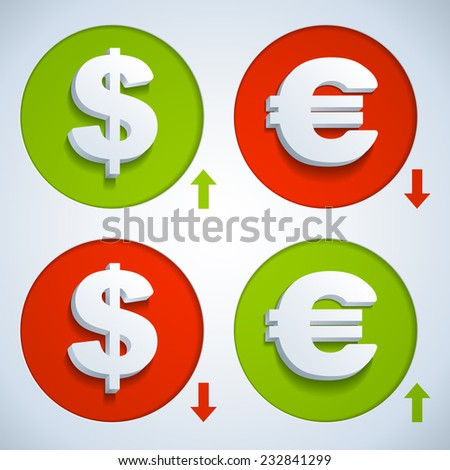 Set icons dollar and euro - stock vector