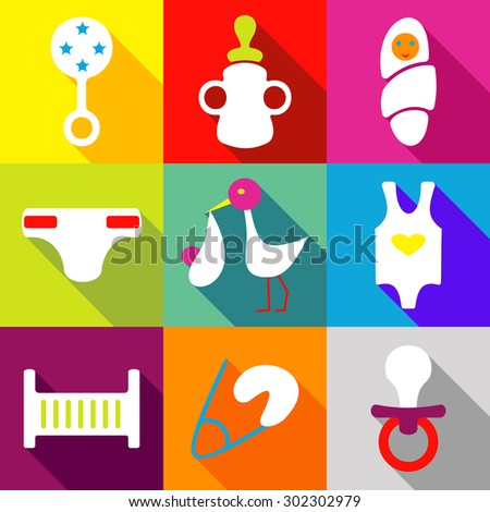 Set icons flat style vector image children