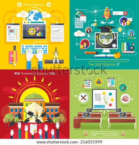 Set icons for education, online education, professional education in flat design style - stock vector