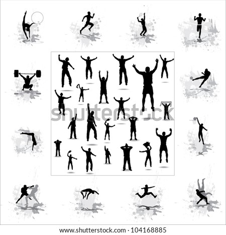Set. Icons for sports championships and happy fans . - stock vector