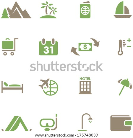 Set icons for travel and tourism. All elements are on separate layers. Possible to easily change the colors and size without losing image quality. - stock vector