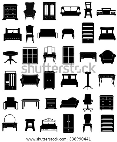 set icons furniture black silhouette outline vector illustration isolated on white background - stock vector