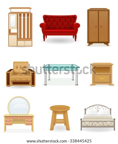 set icons furniture vector illustration isolated on white background - stock vector