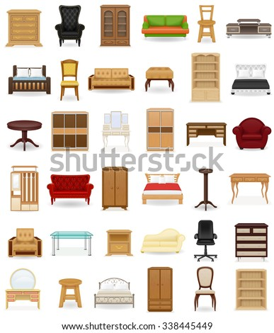 set icons furniture vector illustration isolated on white background