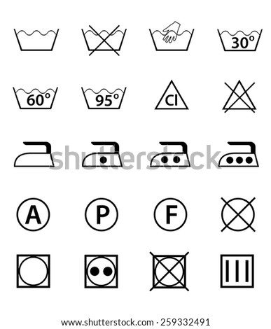 set icons guide for washing vector illustration isolated on white background - stock vector