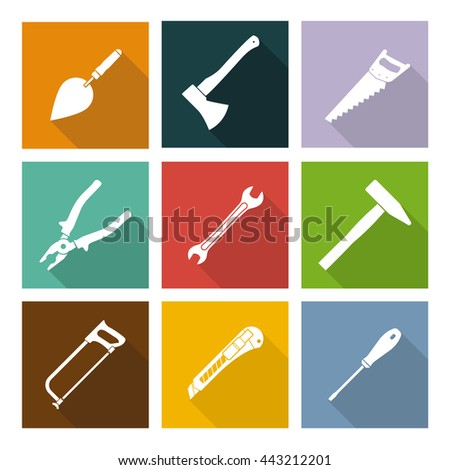 Set icons hand tools flat style: hammer, screwdriver, wrench, pliers, trowel, spanner, stationery knife, saw, axe - vector illustration - stock vector