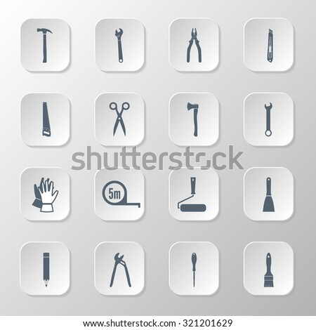 Set icons hand tools: screwdriver, wrench, pliers, trowel,spanner,  stationery knife, putty knife, scissors, gloves, paint roller, paint brush, saw, axe, tape measure, hammer - stock vector