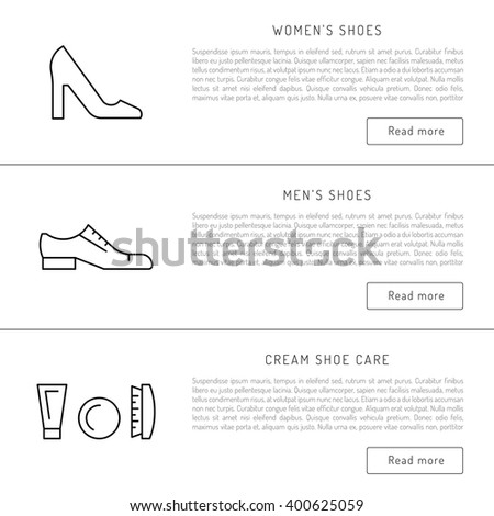 Set icons items for Shoe care. Elements for this service Shoe Shine. Outline icon for shoe care - stock vector