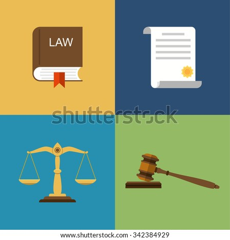Set icons law and justice.  Scales of justice, gavel, book and legal documents. Vector illustration flat design. - stock vector