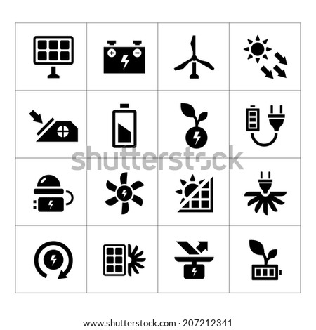 Set icons of alternative energy sources isolated on white. Vector illustration - stock vector