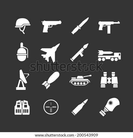 Set icons of army and military isolated on black. Vector illustration - stock vector