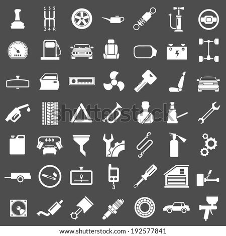 Set icons of auto, car parts, repair and service isolated on grey. Vector illustration - stock vector