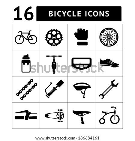 Set icons of bicycle, biking, bike parts and equipment isolated on white. Vector illustration - stock vector