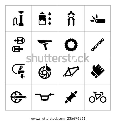Set icons of bicycle - parts and accessories isolated on white. Vector illustration - stock vector