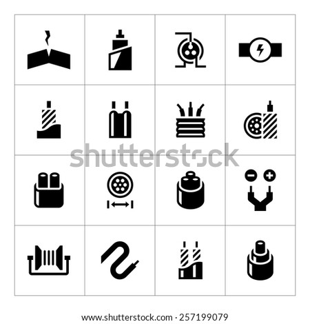 Set icons of cables and wires isolated on white. Vector illustration - stock vector