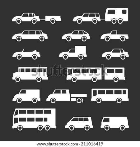 Set icons of car and bus isolated on black. Vector illustration - stock vector