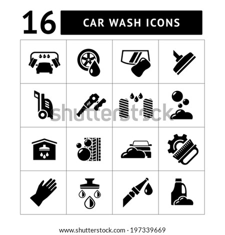 Set icons of car wash isolated on white. Vector illustration - stock vector