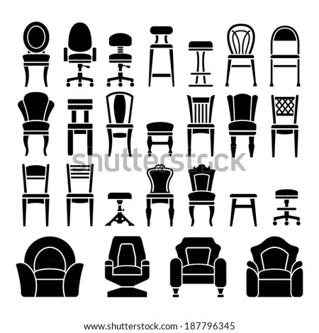 Set icons of chairs isolated on white. Vector illustration - stock vector