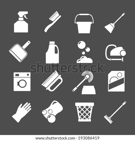 Set icons of cleaning isolated on grey. Vector illustration - stock vector