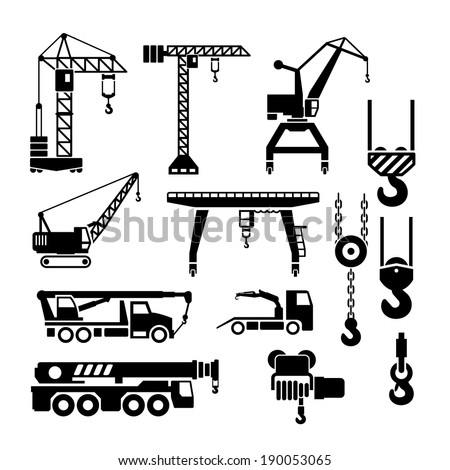 Set icons of crane, lifts and winches isolated on white. Vector illustration - stock vector