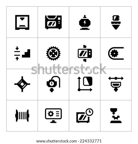 Set icons of 3D printing isolated on white. Vector illustration - stock vector