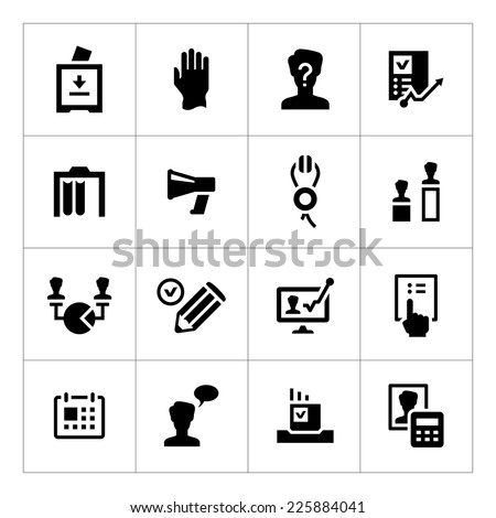 Set icons of elections isolated on white. Vector illustration - stock vector
