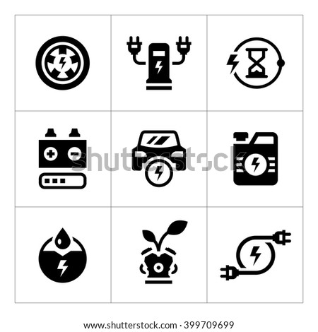 Set icons of electric car - stock vector
