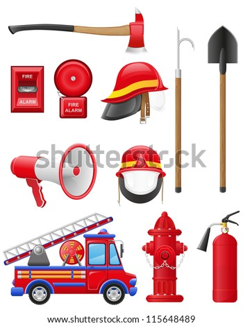set icons of firefighting equipment vector illustration isolated on white background - stock vector