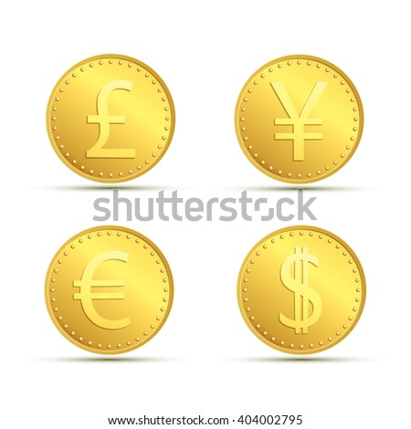 Set icons of gold coins. Currency dollar, euro, pound sterling and yen. Stock vector illustration. - stock vector