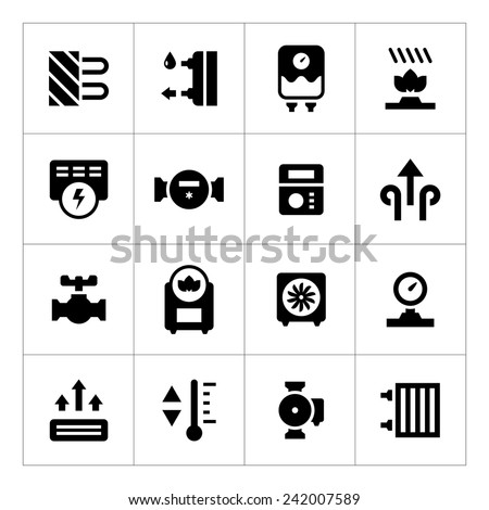 Set icons of heating isolated on white. Vector illustration - stock vector
