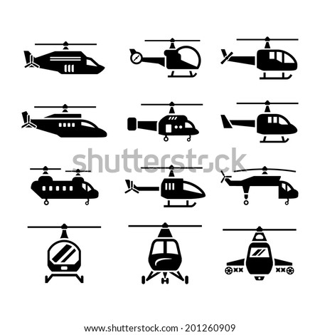 Set icons of helicopters isolated on white. Vector illustration - stock vector