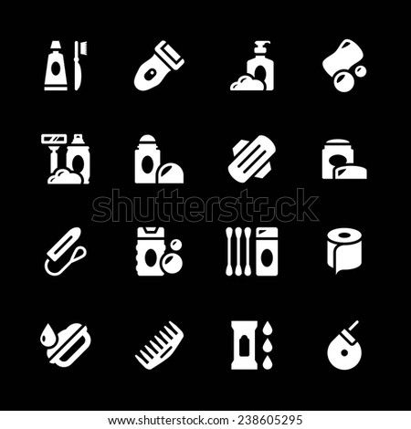 Set icons of hygiene isolated on black. Vector illustration