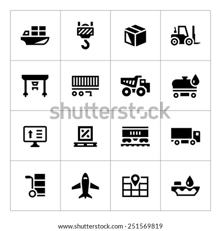 Set icons of logistic isolated on white. Vector illustration - stock vector