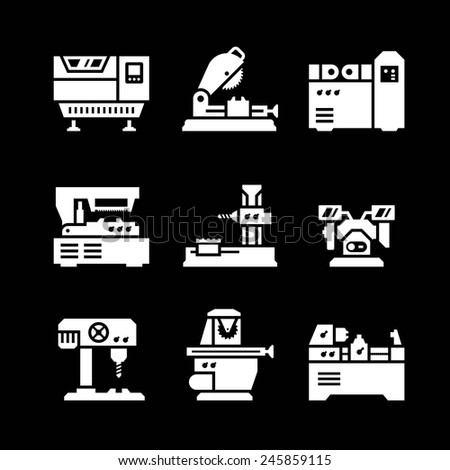 Set icons of machine tool isolated on black. Vector illustration - stock vector