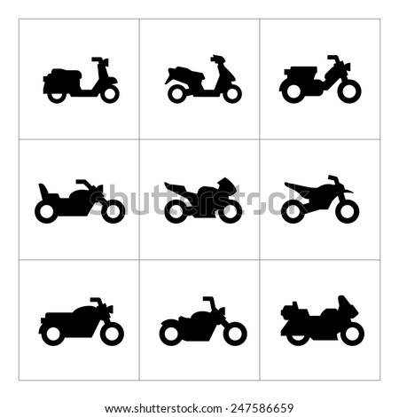 Set icons of motorcycles isolated on white. Vector illustration - stock vector