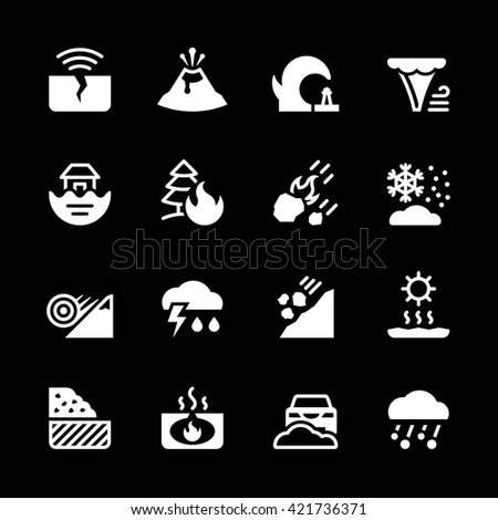 Set icons of natural disaster - stock vector
