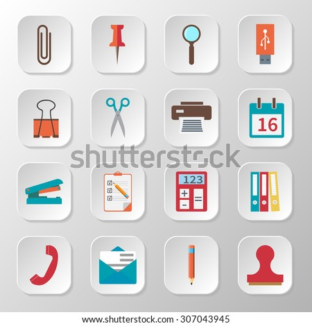Set icons of office supplies and items, workplace equipment, desk element. Flat design, modern style.  Vector illustration - stock vector