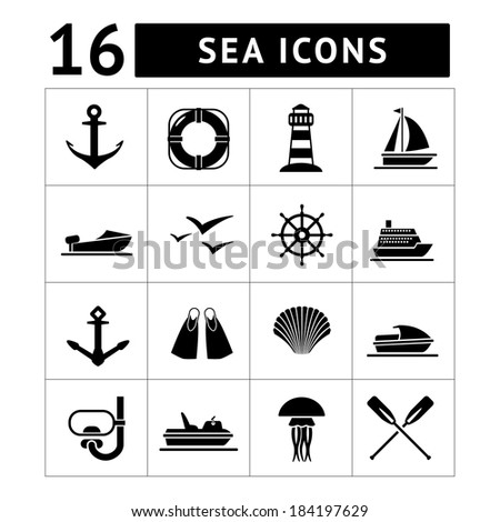 Set icons of sea, beach and travel isolated on white. Vector illustration - stock vector