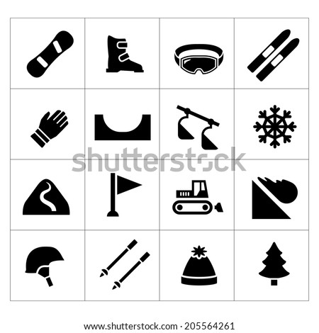 Set icons of skiing and snowboarding isolated on white. Vector illustration - stock vector