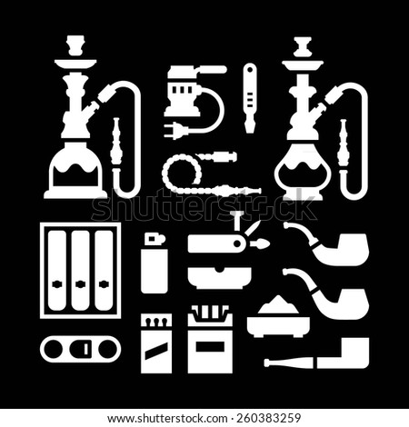 Set icons of smoking equipment and accessories isolated on black. Vector illustration - stock vector