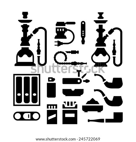 Set icons of smoking equipment and accessories isolated on white. Vector illustration - stock vector