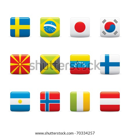 Set Icons of Square world flags on white background
