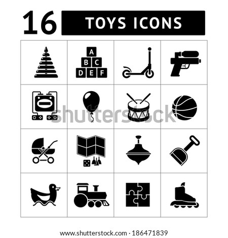 Set icons of toys isolated on white. Vector illustration - stock vector