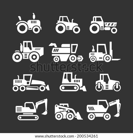 Set icons of tractors, farm and buildings machines, construction vehicles isolated on black. Vector illustration - stock vector